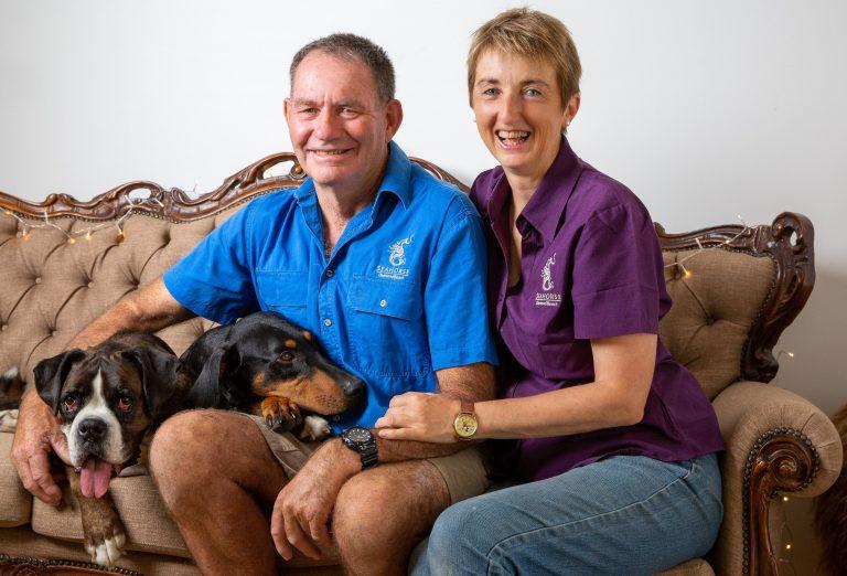 Dianne and Chris Denton of Sea Horse Diamond Beach dog friendly accommodation