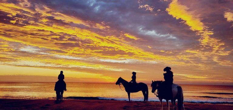 Horse riders on the beach at sunrise