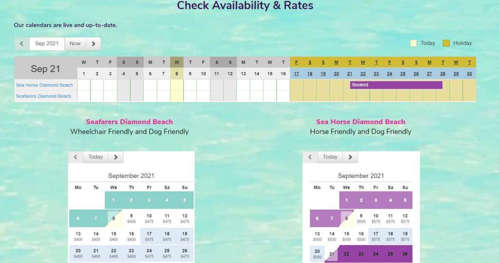 Example of Sea Horse Diamond Beach website online calendar